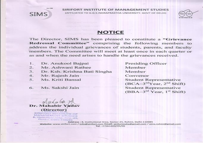 SIMS, GRIEVANCE REDRESSAL COMMITTEE
